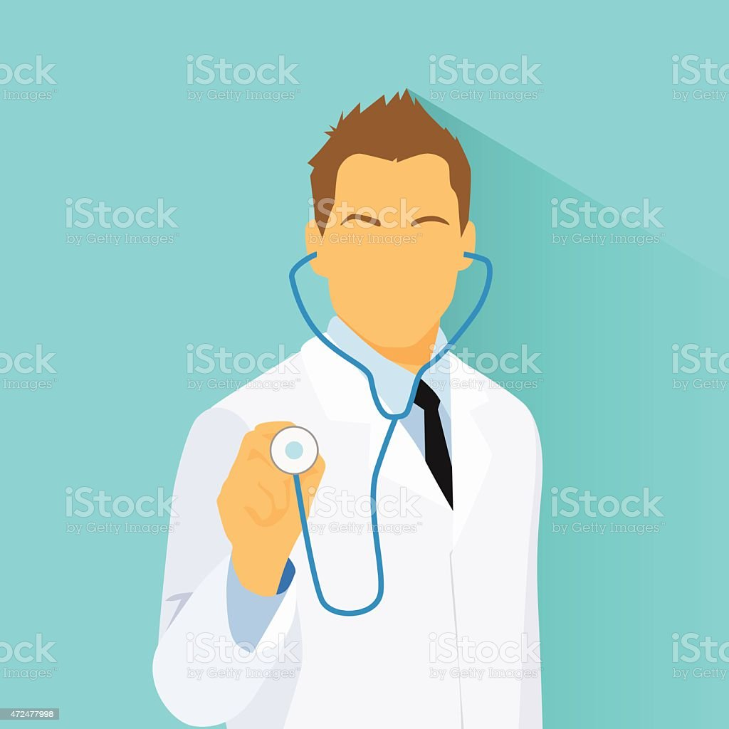 Medical Doctor with Stethoscope Profile Icon Male Portrait vector art illustration