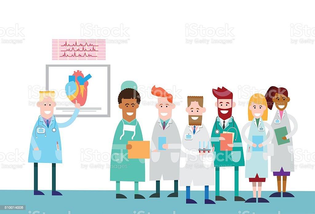 Ilustración de Grupo De Médicos Personas Pasante Cuerpo Humano ...