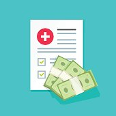Medical document and money vector illustration, flat cartoon health insurance form with pile of money, idea of expensive medicine, healthcare spendings or expenses