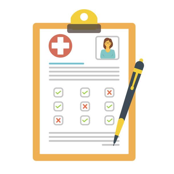 illustrazioni stock, clip art, cartoni animati e icone di tendenza di medical document - scheda clinica