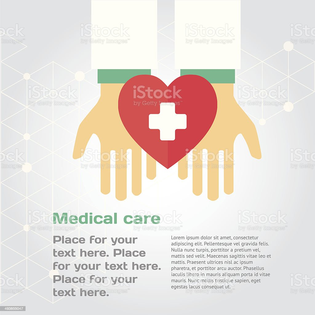 Medical donation. Hands give heart to another vector art illustration