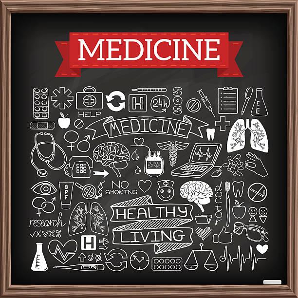 Médica desenhos em giz bordo - ilustração de arte em vetor