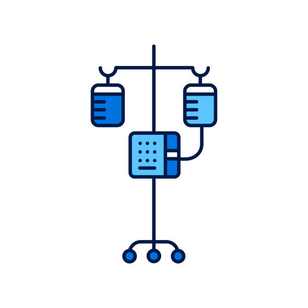 Medical dropper in hospital line color icon. Intravenous therapy and health care concept. Medical dropper in hospital line color icon. Intravenous therapy and health care concept. Sign for web page, mobile app, logo. Vector isolated element. Editable stroke. infused stock illustrations