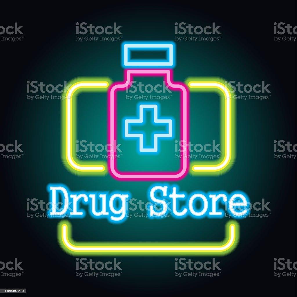 medical drug store, pharmacy neon sign plank for medicine business,...