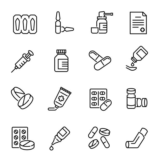 Medical drugs, medications vector linear icons set vector art illustration