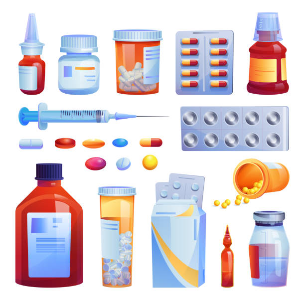 Medical drugs, pills and capsules set isolated cartoon icons. Vector various meds, glass bottles with liquid medicines, plastic tubes with caps. Medication pharmaceutical pharmacy tablets, syringe Medical drugs, pills and capsules set isolated cartoon icons. Vector various meds, glass bottles with liquid medicines, plastic tubes with caps. Medication pharmaceutical pharmacy tablets, syringe prescription meds stock illustrations