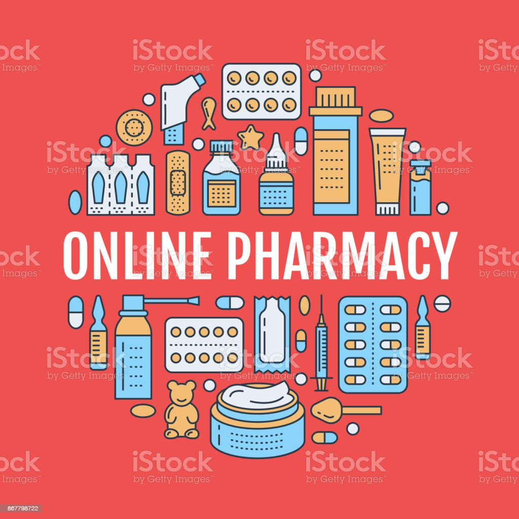 medical drugstore poster template vector medicament line icons, Powerpoint templates