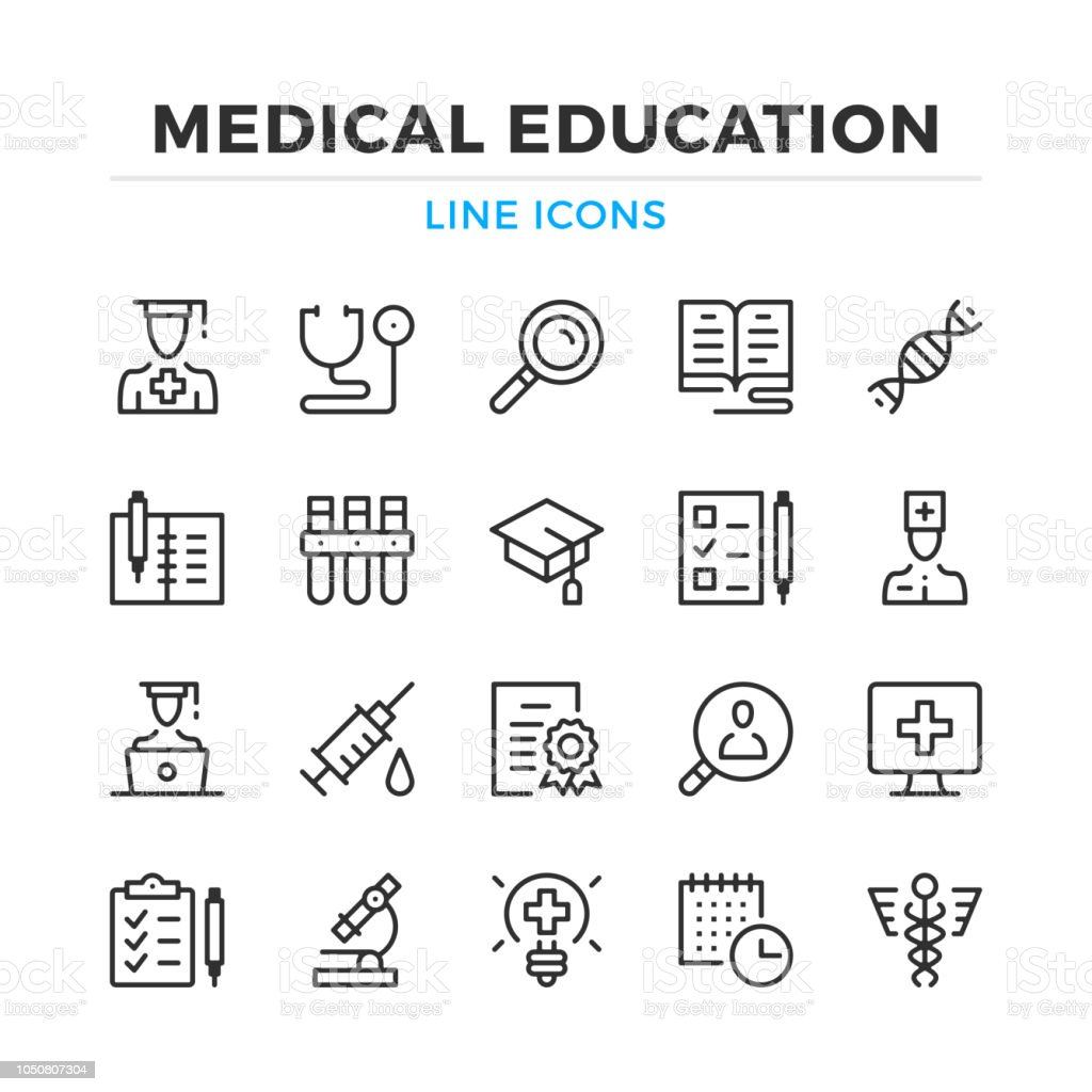 Medical education line icons set. Modern outline elements, graphic design concepts. Stroke, linear style. Simple symbols collection. Vector line icons royalty-free medical education line icons set modern outline elements graphic design concepts stroke linear style simple symbols collection vector line icons stock illustration - download image now