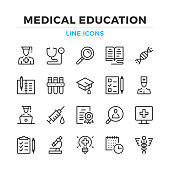 Medical education line icons set. Modern outline elements, graphic design concepts. Stroke, linear style. Simple symbols collection. Vector line icons