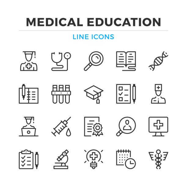 ilustraciones, imágenes clip art, dibujos animados e iconos de stock de conjunto de iconos de línea educación médica. elementos de contorno moderno, conceptos de diseño gráfico. trazo, estilo lineal. colección de símbolos sencillos. iconos de línea del vector - exámenes médicos