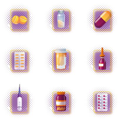 Medical elements on isolated white background.