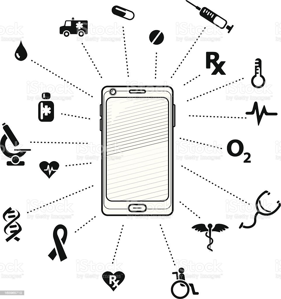 Medical elements on smartphone B&W royalty-free stock vector art