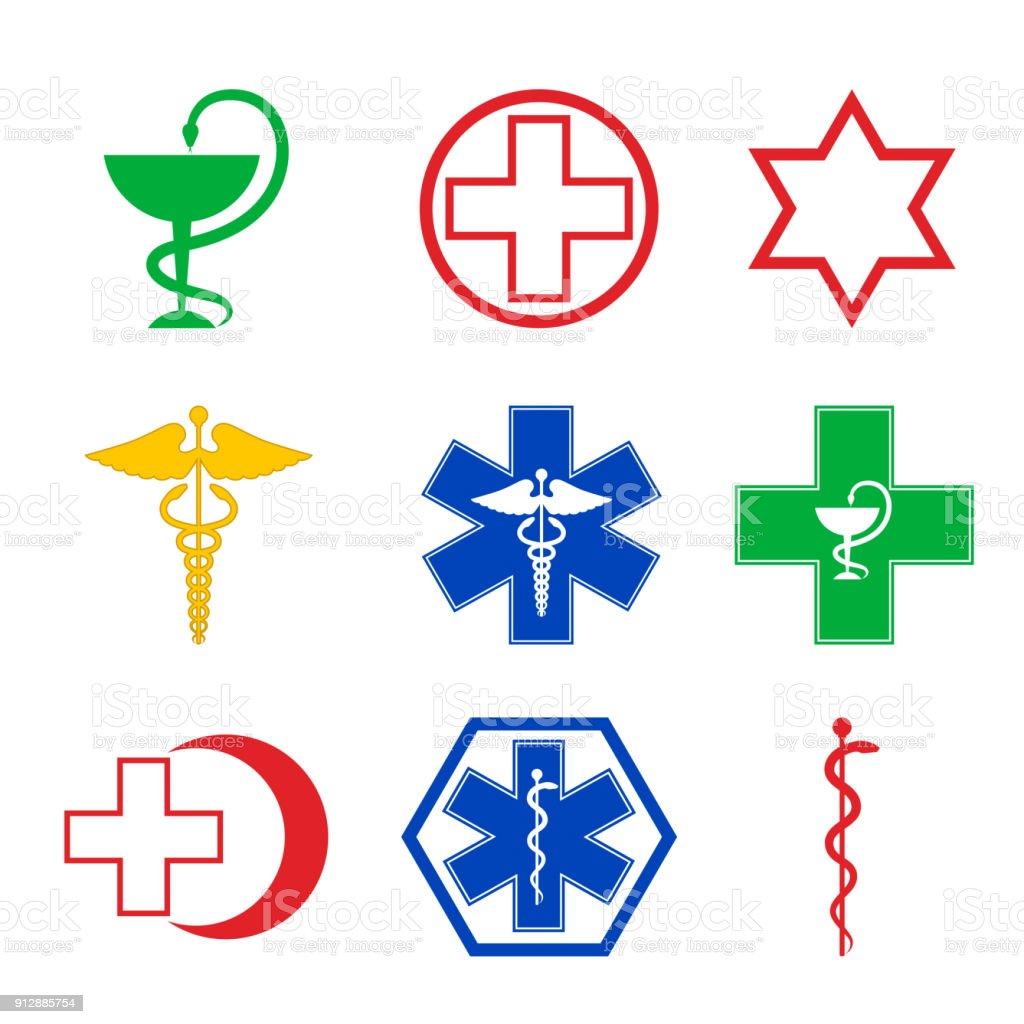 medical emblems vector art illustration
