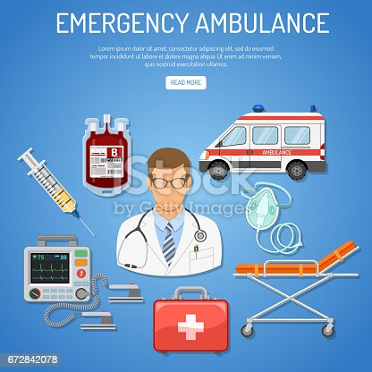 medical emergency ambulance concept with flat icons doctor, blood container, defibrillator, stretcher. isolated vector illustration