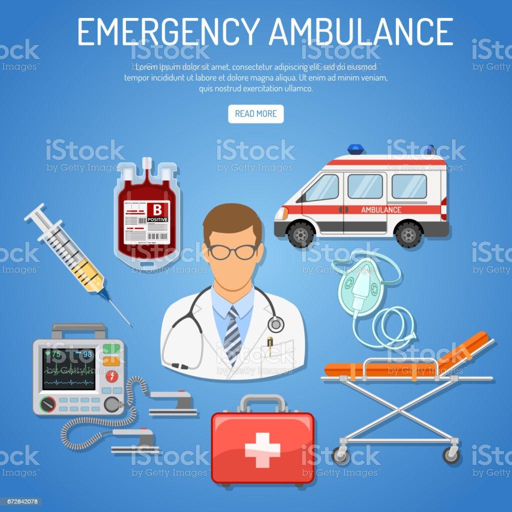 medical emergency ambulance concept vector art illustration