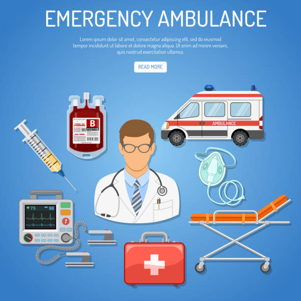 medical emergency ambulance concept medical emergency ambulance concept with flat icons doctor, blood container, defibrillator, stretcher. isolated vector illustration oxygen mask stock illustrations