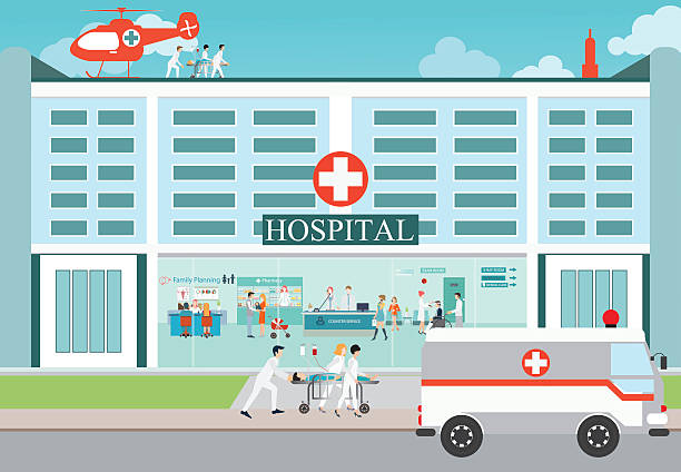 Medical emergency chopper helicopter and  Ambulance car. Medical emergency chopper helicopter and  Ambulance car with doctors and patient at the hospital building, vector illustration. male nurse stock illustrations