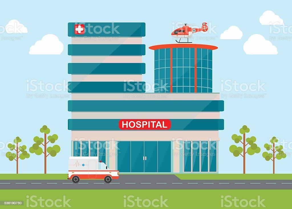 Medical emergency chopper helicopter and Ambulance. vector art illustration