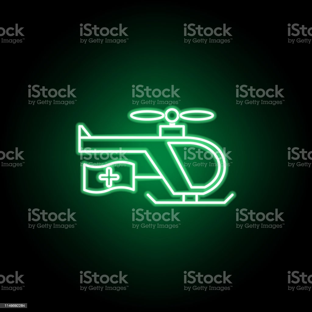 Medical, emergency chopper icon in neon style. Element of medicine...