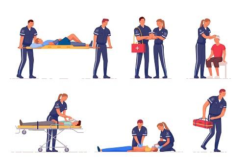 Medical emergency paramedic team first aid set