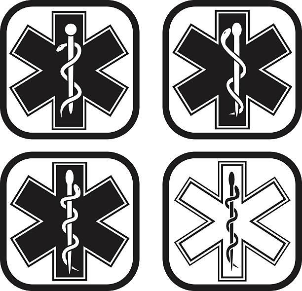 Medical emergency symbol - four variations Medical emergency symbol in four variations new life stock illustrations