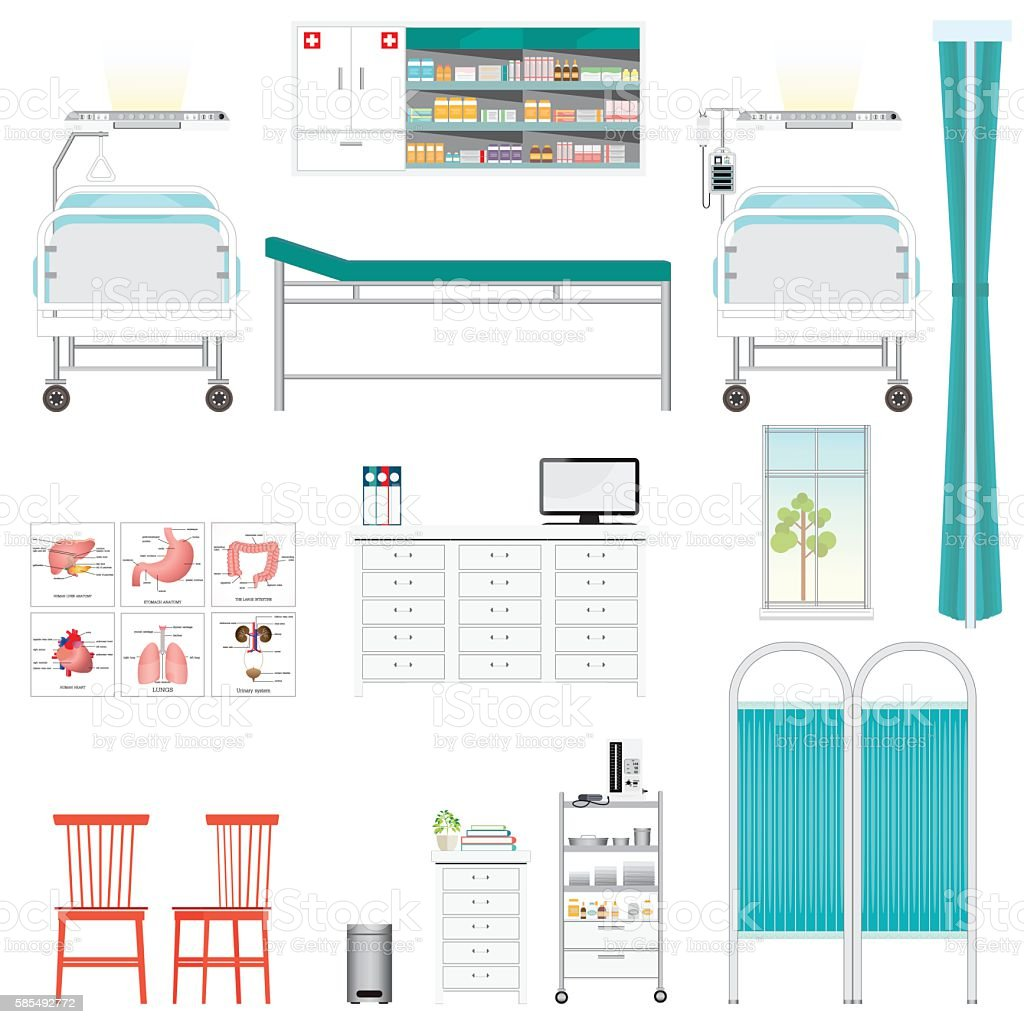 Medical equipment and furniture in hospital. vector art illustration