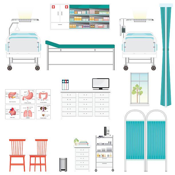 bildbanksillustrationer, clip art samt tecknat material och ikoner med medical equipment and furniture in hospital. - sjukhusavdelning