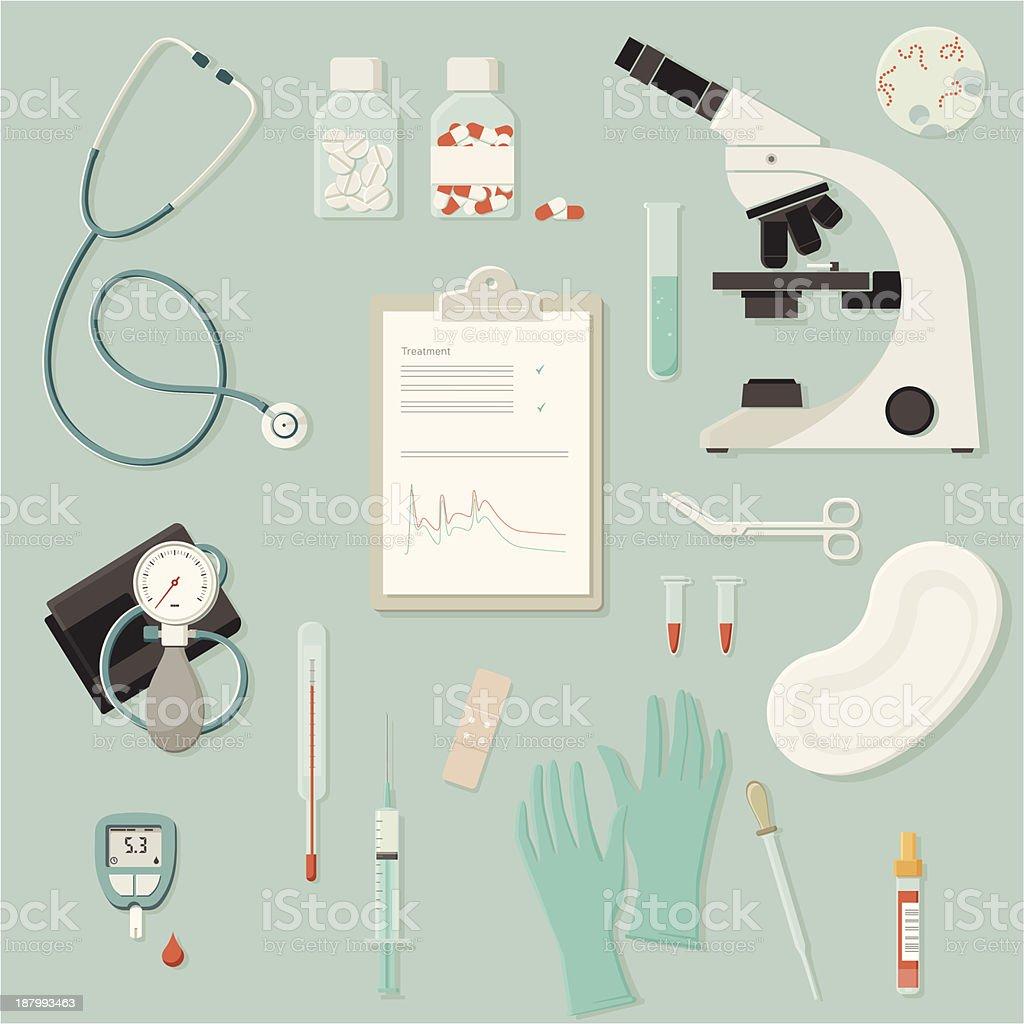 Equipamentos médicos e instrumentos - ilustração de arte em vetor