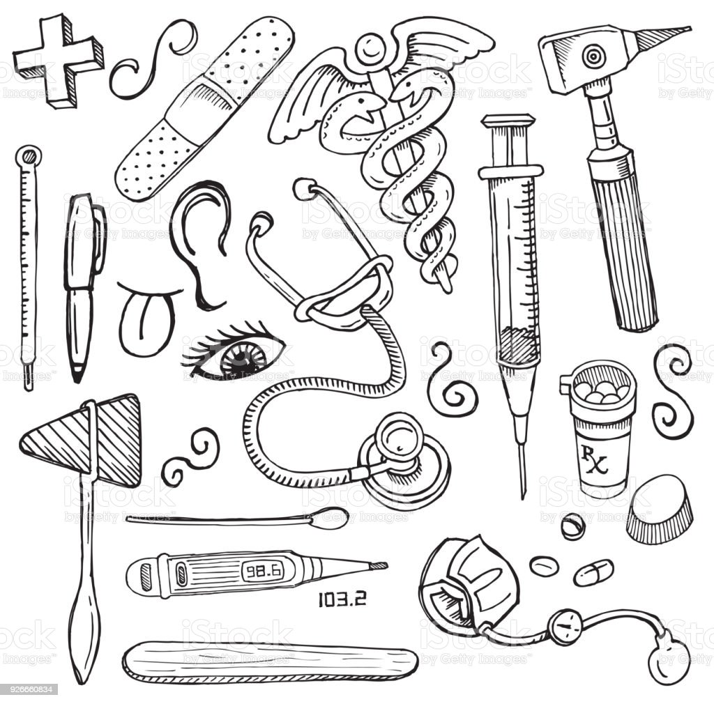 Medical equipment doodles thermometer syringe stethoscope bandaid medical equipment doodles thermometer syringe stethoscope bandaid medical symbol royalty biocorpaavc Choice Image