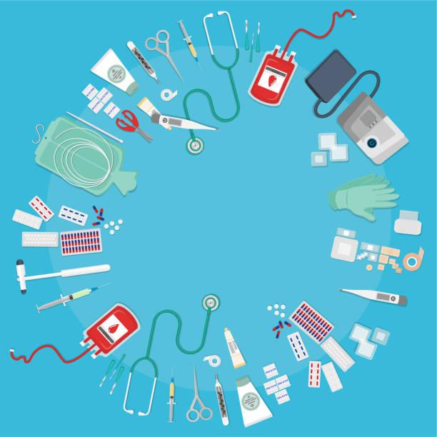 stockillustraties, clipart, cartoons en iconen met medische apparatuur platte web - naald chirurgisch instrument