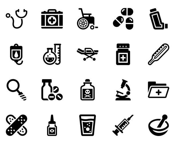 bildbanksillustrationer, clip art samt tecknat material och ikoner med ikon uppsättning för medicinsk utrustning-1 (svart serie) - microscope