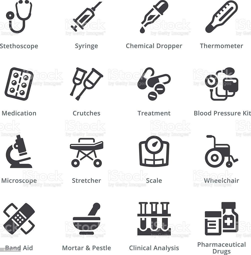 Medical Equipment Icons Set 1 - Sympa Series   Black vector art illustration