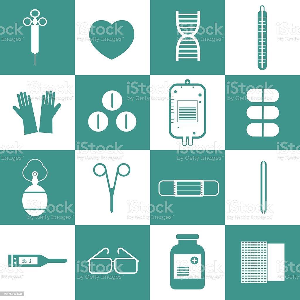 Medical equipment icons set vector vector art illustration