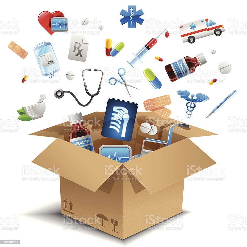 Medical equipment in the box vector art illustration