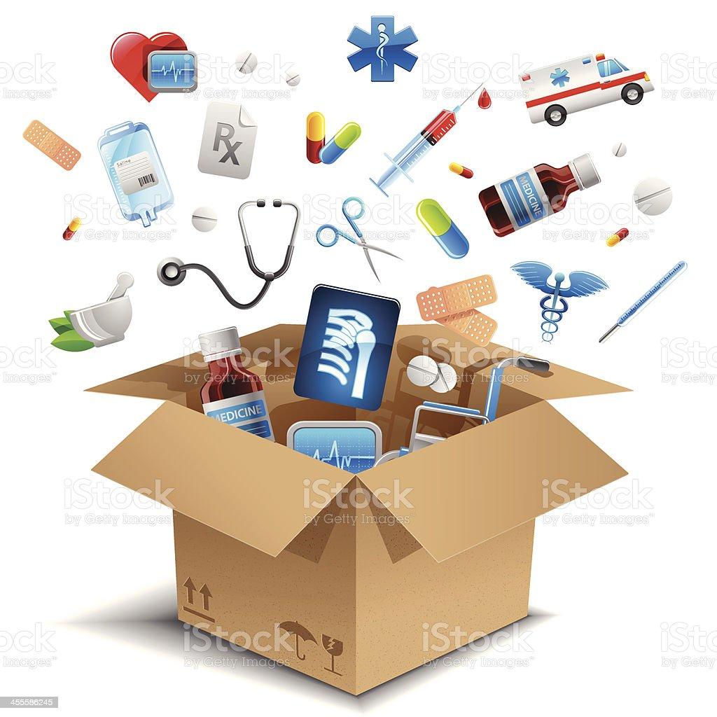 Equipamento médico na caixa - ilustração de arte em vetor