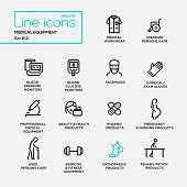 Medical Equipment - line design pictograms set