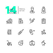 Medical Equipment - modern vector line design icons set. Male, female doctor, ambulance, medicine, syringe, record, pills, thermometer, drip chamber, test tube, wheelchair, blood pressure meter first aid kit microscope