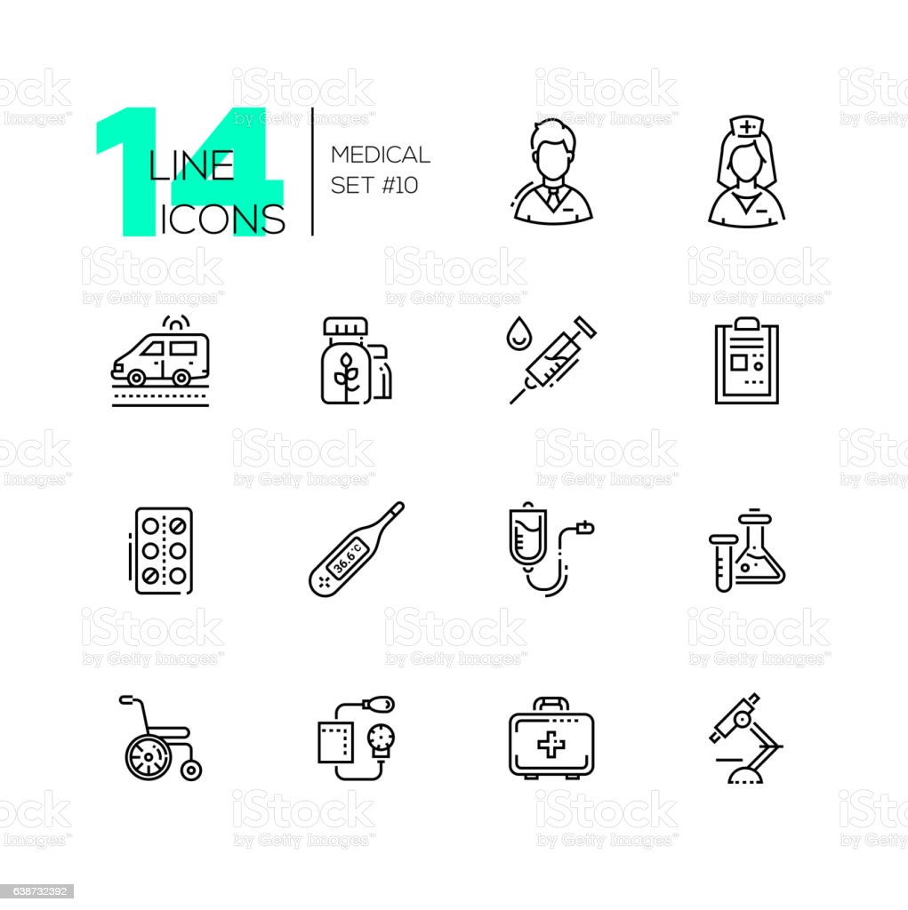 Medical Equipment - line icons set vector art illustration
