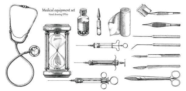 stockillustraties, clipart, cartoons en iconen met medische apparatuur ingesteld hand tekenen vintage stijl - naald chirurgisch instrument