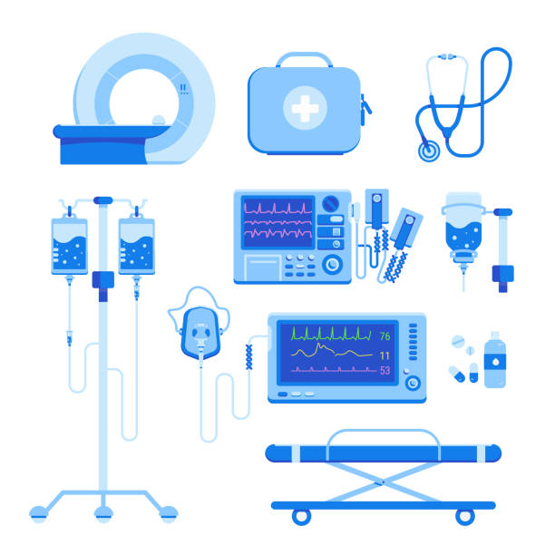 Medical equipment set of MRI, a defibrillator, an oxygen mask and equipment, a medical box with medicines, a blood transfusion dropper, a stretcher isolated on a white background Professional medical equipment set of MRI, a defibrillator, an oxygen mask and equipment, a medical box with medicines, a blood transfusion dropper, a stretcher isolated on a white background. Vector illustration. oxygen mask stock illustrations