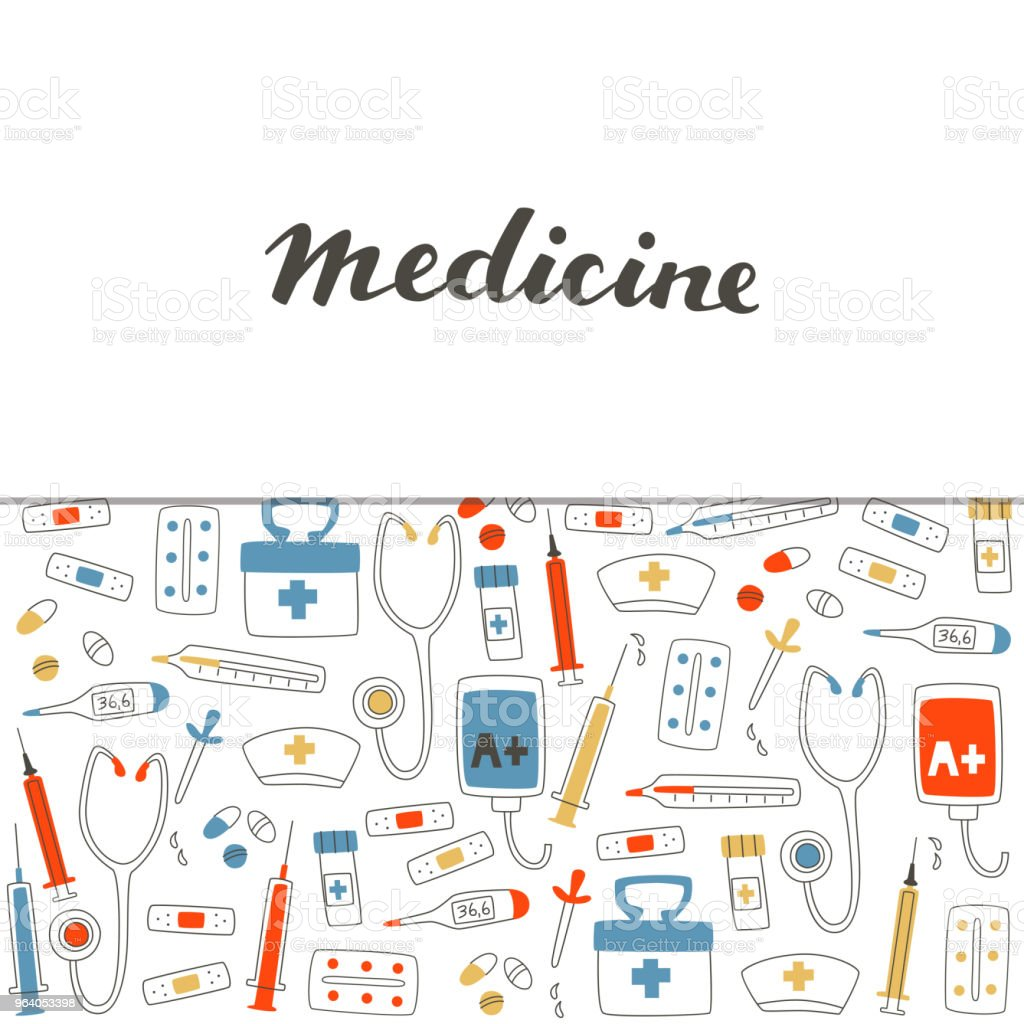 Medical Equipment Set with Pill, Stethoscope, Thermometer, Tablets and Syringe. - Royalty-free Assistance stock vector