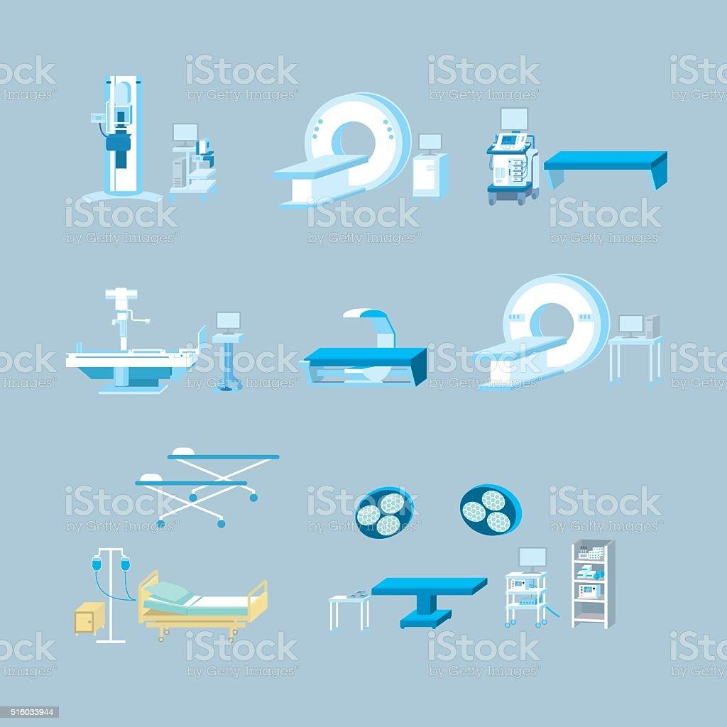 medical equipment simple vector illustration set vector art illustration
