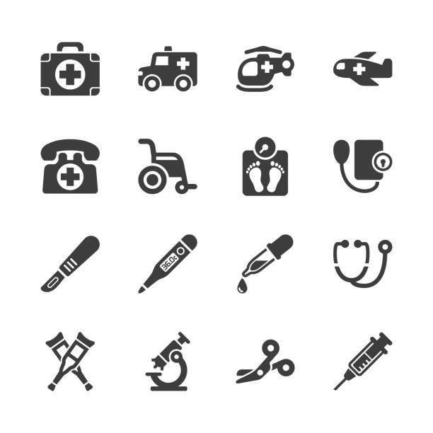 Medical Equipment & Supplies Icons Medical Equipment & Supplies Icons - Gray Series - Set 1 emergency equipment stock illustrations