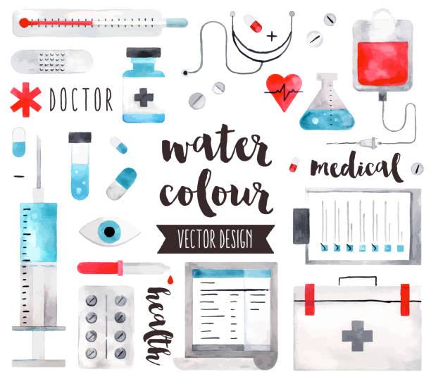 stockillustraties, clipart, cartoons en iconen met medische apparatuur aquarel vectorobjecten - doordrukstrip