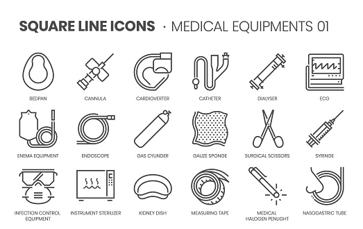 Medical equipments, square line vector icon set.