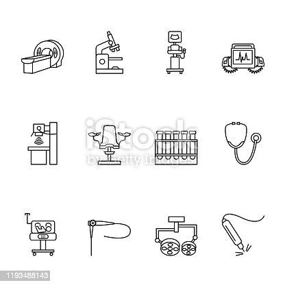 Medical equipmet line icon set. Vector illustration examination, MRI, x-ray, ultrasound machines, endoscopy, surgical light, lamp, defibrillator, microscope, gynecological chair, test tube, stethoscope, baby incubator, lazer.