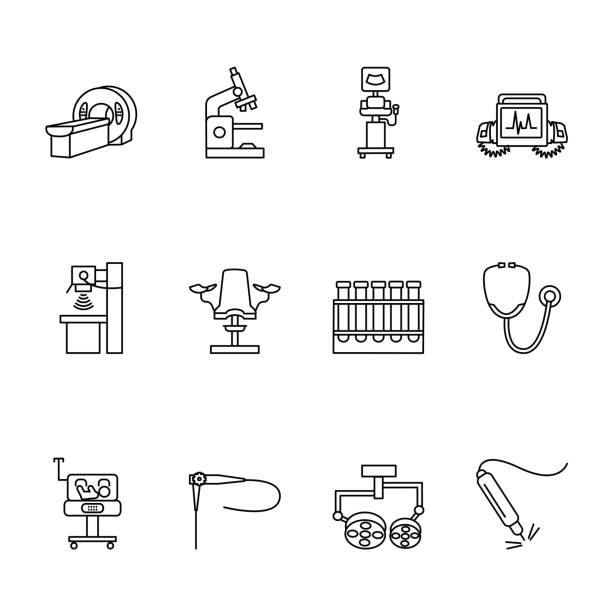Medical equipmet line icon set. Vector illustration examination, MRI, X-ray, ultrasound machines, endoscopy, surgical light, lamp, defibrillator, microscope, gynecological chair, test tube, stethoscope, baby incubator, lazer Medical equipmet line icon set. Vector illustration examination, MRI, x-ray, ultrasound machines, endoscopy, surgical light, lamp, defibrillator, microscope, gynecological chair, test tube, stethoscope, baby incubator, lazer. radiology stock illustrations