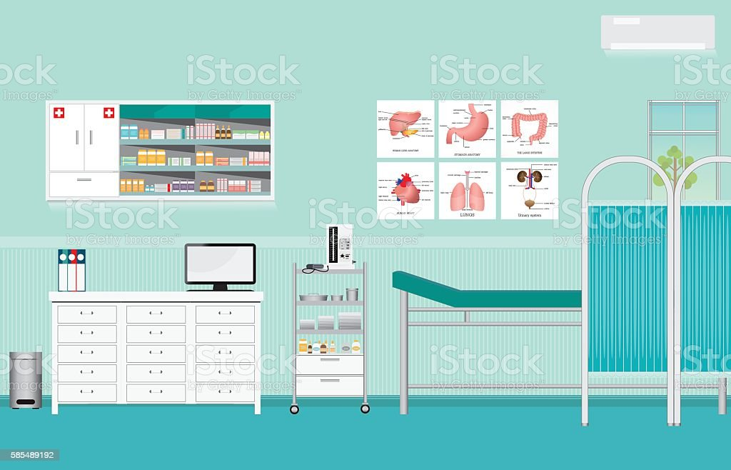Medical examination or medical check up interior room. - Illustration vectorielle