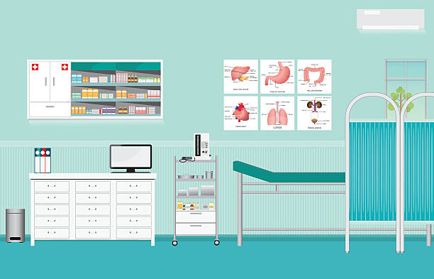 ilustraciones, imágenes clip art, dibujos animados e iconos de stock de medical examination or medical check up interior room. - consultorio médico