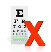 Medical Eye Chart with a x mark. poor vision concept illustration design